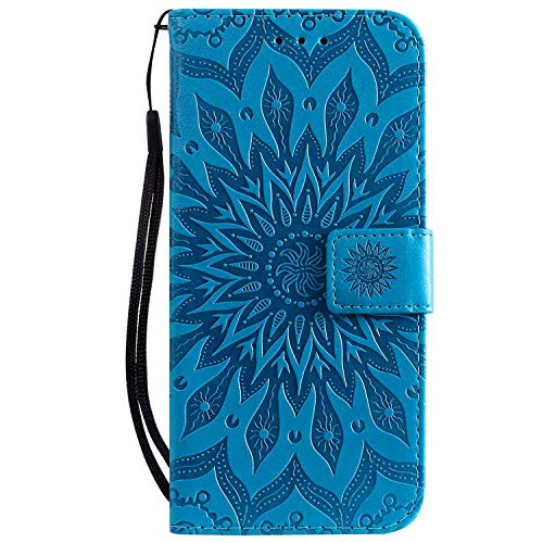 Draamvol Funda para Samsung A22 5G, funda de piel sintética, tipo cartera, cierre magnético, tarjetero, funda para Samsung Galaxy A22 5G, color azul