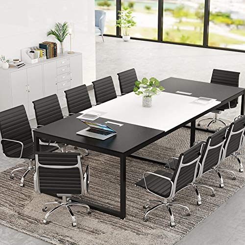 Tribesigns 8FT Rectangle Shaped Conference Table, 94.48L x 47.24W x 29.92H Inches Meeting Seminar Table with Partical Wood Tabletop and Metal Frame, Black