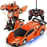 Remote Control Car - Transform Car Robot Rc Car Deformation Toy for Kids Boys Girls,1:18 Scale Remote Control Transforming Car with One Button Transformation & 360° Rotating Drifting-Orange