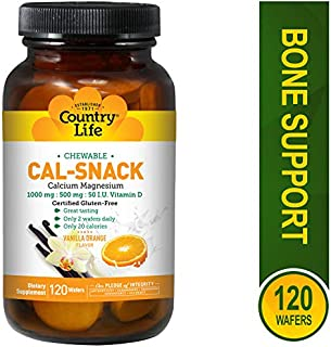 Country Life Cal-Snack - Chewable Calcium, Magnesium with Vitamin D, 1000mg/500mg/50 IU - Dairy-Free Vanilla Orange Flavor - 120 Wafers