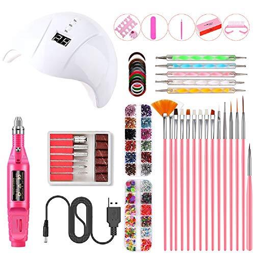 RHG Kit de perceuse à ongles électrique LED UV, séchoor LED USB 36W, accessoires professionnels pour outils à ongles