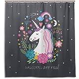 chillChur-DD Shower Curtain Set Tende da doccia Floreale Stella Spazio Unicorno Tenda da bagno impermeabile Bagno Decorazioni per la casa, 168X183 Cm (66X72 In) con 12 ganci
