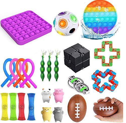 Fidget Spielzeug Set Sensory Spielzeug-Pack billig für Kinder Erwachsene Einfachen Dimple Figetget Spielzeug Stress Relief und Anti-Angst-Tools Zappeln Spiel Zeit totschlagen (24Pc ToY LA)