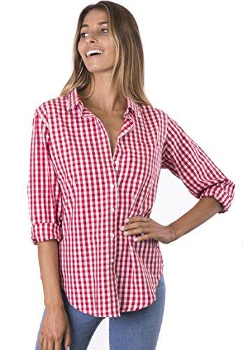 CAMIXA Camisa con Botones Vichy a Cuadros para Mujeres X-Grande Rojo/Blanco