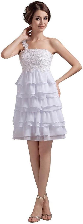 Dearta Women's Empire OneShoulder Sleeveless Short Mini Wedding Dresses