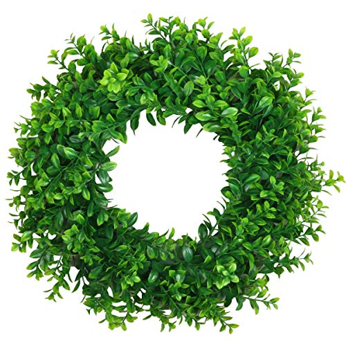 U'Artlines 18' Front Door Wreaths, Artificial Spring Summer Greenery Hanging Garland for Home Wedding Window Wall Decoration (18'' Boxwood)