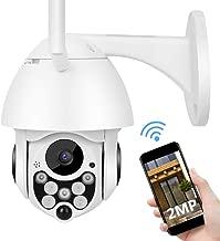 1080P PTZ Cámara de Seguridad, IP Cámara para Exteriores de 2MP HD con Bidireccional Audio, Detección de Movimiento, Visión Nocturna con IR Corte para hogar/Oficina/Tienda(EU)