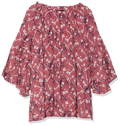 Ulla Popken Damen Blusenshirt Mit Raffung, Große Größen Bluse Violett (Aubergine 80), Herstellergröße: 46+