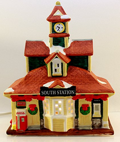 Coca-Cola Christmas Village Town Square Collection South Station Train Clock Tower Coke Machine