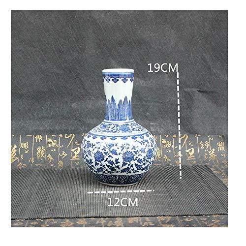 ZKPDX Porcelana Antigua Azul Y Blanca Jarrón Celestial De La Decoración del Hogar Gabinete del Vino Sala De Estar Bogu Rack Estatuas