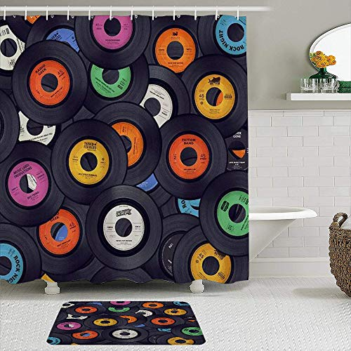 TARTINY 2-teiliges Duschvorhang-Set mit rutschfesten Teppichen,Retro-Vinyl-Schallplatte mit 12Haken,rutschfeste Badematte,wasserdichter Duschvorhang,Schmutzabweisende Badematte Duschvorhang