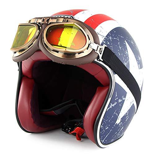 LALEO Personalidad Personalizado Estrellas y Rayas Vintage Harley Cascos Moto Half-Helmet con Gafas, Transpirable Hombres Mujeres Casco Scooter Casco Jet ECE/Dot Certificado (55-64cm)