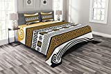 Ambesonne Greek Key Bedspread, Neoclassical Borders Composition Meander Pattern and Flowers Waves, Decorative Quilted 3 Piece Coverlet Set with 2 Pillow Shams, Queen Size, Marigold White