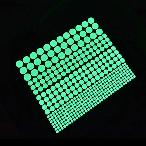 Glow in The Dark Wall Stickers, Buery 407 Pcs Removable Glow in Dark Dots Wall Decals Stickers Room Decor Kit, Adhesive Dots Luminous Ceiling Decals for Kids Bedroom Halloween Home Decoration