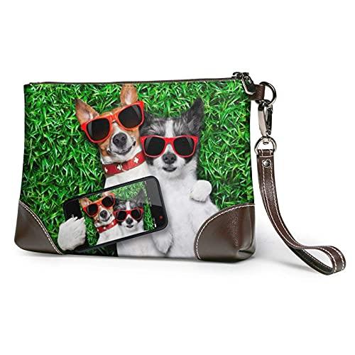 Dos perros, gafas de sol rojas en prado verde, bolso de mano con estampado, bolso de mano de cuero desmontable, bolso de mano para mujer