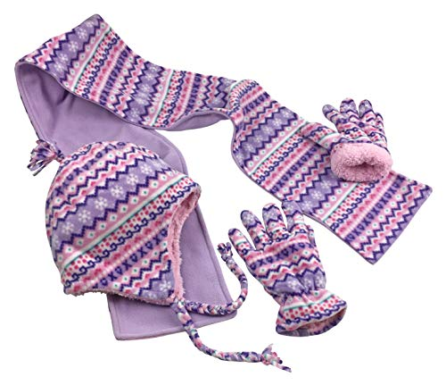 N'Ice Caps Big Girls 7-10 Years Printed Soft Sherpa Lined Hat/Scarf/Glove 3PC Set (Light Purple Fair Isle, 8-12 Years)