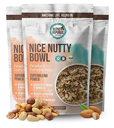 3er Pack Nice Nutty Bowl - Porridge mit ⍟ Geröstete Mandeln & Haselnüsse und ⍟ Kollagen Peptiden Typ I,II und II und Inulin ⍟ Müsli Mix - Ballaststoffreich - Preiteinreich - Ohne Zucker