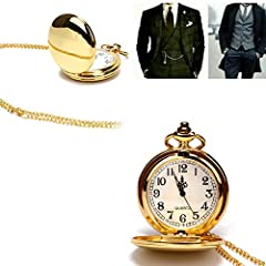 Smooth Vintage Steel Quartz Pocket Watch Classic Fob Pocket Watch with Short Chain for Men Women - Gift for Birthday Anniversary Day Christmas Fathers Day (Gold) #5