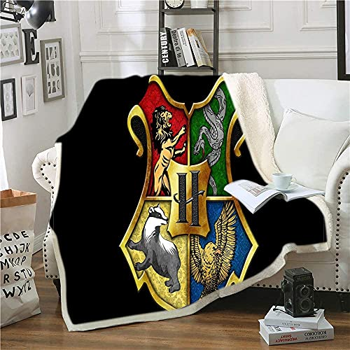 Amacigana Harry-Potter - Manta de forro polar para cama y sofá (100% microfibra, 150 cm x 200 cm)