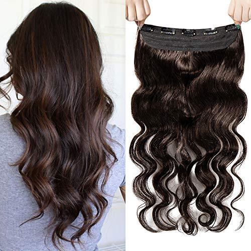 Clip in Extensions Echthaar Gewellt Haarverlängerung Remy Echthaar 1 Tresse günstig Human Hair Haarverdichtung 50cm-95g(#2 Dunkelbraun)