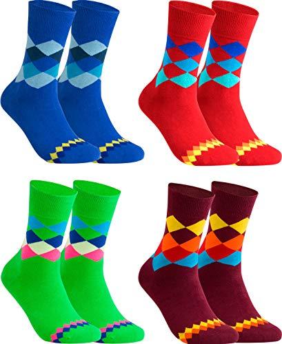gigando - Qualitäts Socken für Herren 4 Paar – kariertes buntes Muster für Anzug, Business und Freizeit – grün, blau, rot, bordeaux – 43/46