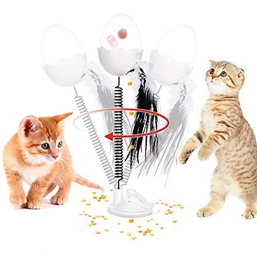 CHOKMAX Kat Veer Speelgoed, 2020 Nieuwste Versie Interactieve Voedseldispenser, Tumbler Teaser Feeder met LED Licht Catnip Smart IQ Kitty Chaser Oefening Grappige Puzzel Speelgoed voor Indoor Katten