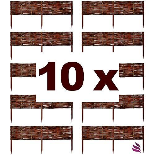 Floranica® Beeteinfassung, Weiden-Zaun, Steckzaun in 25 Größen, imprägniert mit Buchepflöcke für längere Haltbarkeit, Beet-Umrandung, Weg-Abgrenzung, Länge:10 STK. x 60 cm, Höhe:60 cm