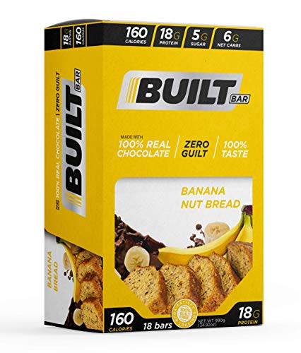Built Bar 18 Pack Protein and Energy Bars - 100% Real Chocolate - High In Whey Protein And Fiber - Gluten Free, Natural Flavoring, No Preservatives (Banana Nut Bread)
