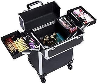 Kanstar Aluminum Portable Cosmetic Beauty Hairdressing Makeup Box Case Storage Trolley Black