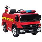 crooza NEUHEIT - Feuerwehr Kinderauto Feuerwehrauto Firetruck Kinderfahrzeug Kinder Elektroauto inkl. Feuerwehrmann Ausrüstung