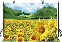 Zhyひまわりフラワーフィールド背景7X5FT黄金咲く花緑の丘自然風景写真背景YouTubeフォトスタジオプロップ壁紙LLST143