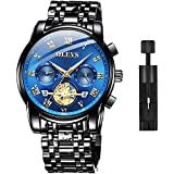 OLEVS Men Watch Stainless Steel Black Wrist Watches Business Waterproof Dress Casual Analog Quartz Classic Luminous Luxury Chronograph Wristwatches