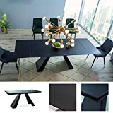 MHF Salvadore - Mesa extensible de 160 a 240 x 90 cm, cristal templado, color negro mate, estilo loft moderno