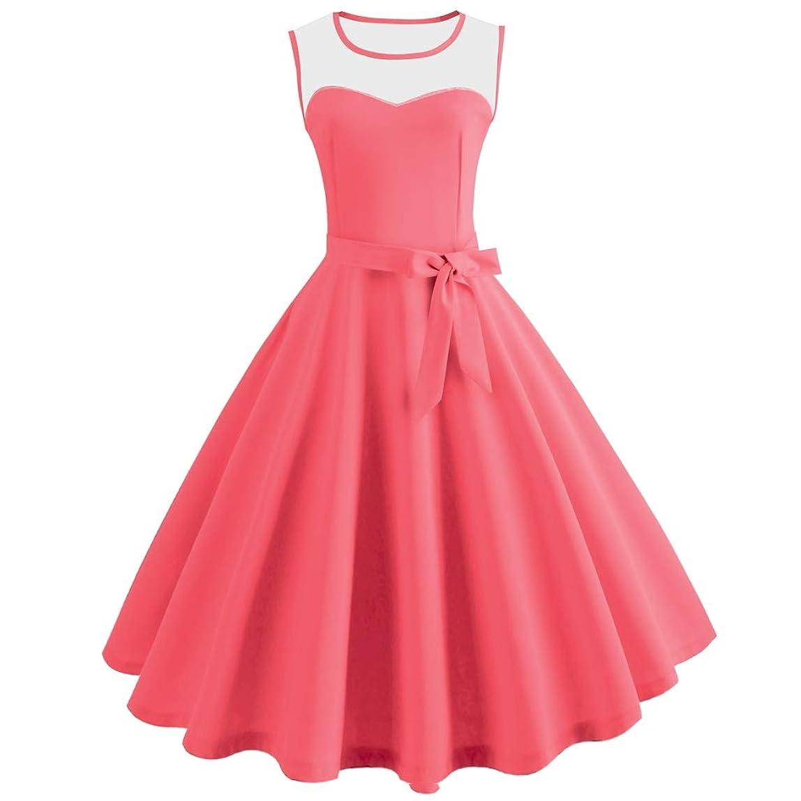 KCatsy Hepburn Vintage Series Women Dress Spring and Summer Grenadine Stitching Design Sleeveless Belt Retro Corset Dress wzowiwk145555