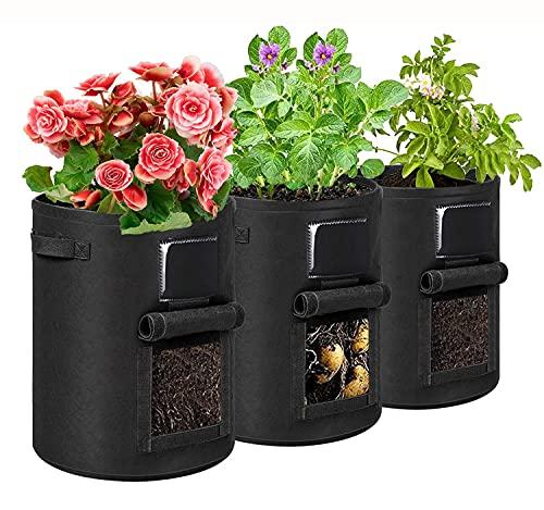 KZXXZH Borse per la coltivazione delle patate, vaso da giardino da 7 galloni, borsa per piante in tessuto traspirante con manici e patta per patate/pomodori/frutta/verdura(confezione da 3, nero)