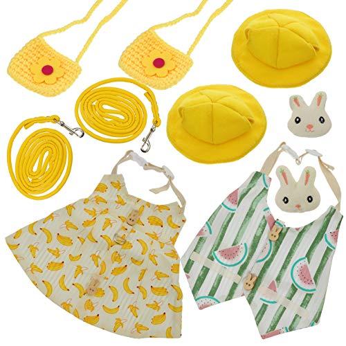 POPETPOP 2 Juegos de Vestido de Conejo para Mascotas Ropa de Conejito Lindo Conjunto de Disfraz Pequeño Arnés de Animales Chaleco Mini Sombrero Bolsa Conjunto de Accesorios para Conejo