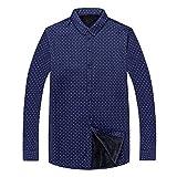 N\P Camicia Uomo Inverno Vestiti Spessa Calda Camicia Uomo Maniche Lunghe Termiche Blu 2 XXXXXXXL