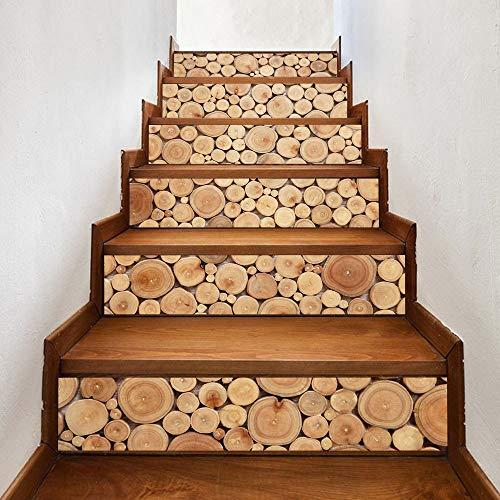 Calcomanías de escaleras Registros apilados en 3D Patrón de madera Azulejo de pared Escaleras Pegatinas Etiqueta de pared de PVC extraíble Cartel mural impermeable for escalera de habitación Pintura