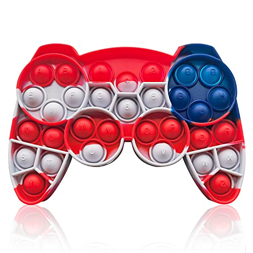 HooYiiok Gamepad Tie Dye Push Pop Pop Fidget Toy, Stress Relief Pop Game for Autism ADD and ADHD Special Needs Anxiety, Popper Fidgets Toys for Girls and Kids (National Flag Color)