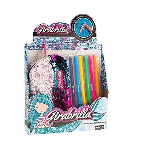 Girabrilla- Sirena Nice Group Astuccio Sirenetta Mermaid per la Scuola, con Paillettes reversibili e Kit di pennarelli Colorati, Colore Viola, 02555