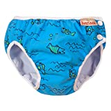 ImseVimse Schwimmwindeln für Jungen, Aquawindel, Badewindelhose Seepferd, wasserblaue Fische, Gr. XL 11-14kg