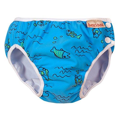 ImseVimse Schwimmwindeln für Jungen, Aquawindel, Badewindelhose Seepferd, wasserblaue Fische, Gr. L 9-12kg