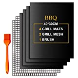 Lachi BBQ Baking Mats 7pcs for Gas Grill Oven Bottom Liners Non Stick ReusableBaking Mesh for Indoor Outdoor...
