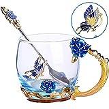 TKLake Lead-Free Enamel Flower Glass Mug/Coffee Mug/Tea Cup with Steel Spoon,Great Gifts for Women Wife Mum Teacher Girlfriend Friends Birthday Mothers Valentines Wedding Day