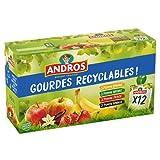 ANDROS - Compote de Fruit - Gourde Recyclable - Allégé - Goût Pomme + Pomme/Vanille + Pomme/Fraise + Pomme/Banane - Idéal pour le Goûter des Enfants et des Bébés - Lot de 12 (12x90g)