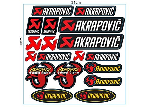 1 Set (18 Aufkleber) JDM Akrapovic Racing Sticker Autocollant Pegatinas + plus TOPHEADS© Eyewear Sticker + Motocross BMX Auto Car Bike JDM DUB Tuning Racing