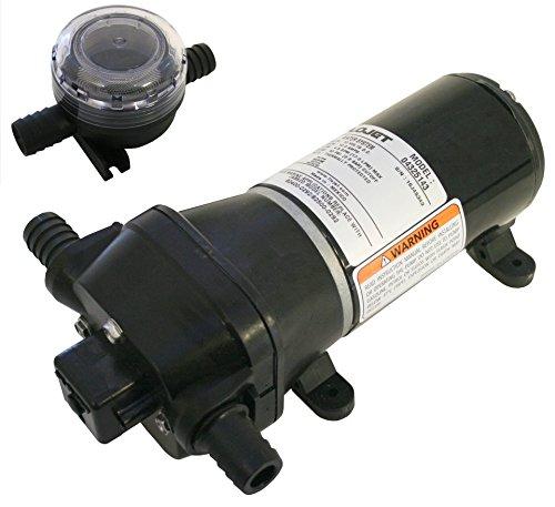 Flojet 4325 Series Heavy Duty Automatic Deck Washdown Pumpe, Quad II Membran, Herren, 04325143L, Schwarz, 12 Volt