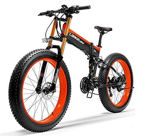 TYT Elektrisches Mountainbike T750Plus 26 \'\' Zusammenklappbares Elektrisches Fatbike Snowbike, Bafang 750W Motor, Lithiumbatterie Der Spitzenmarke, Optimiertes Betriebssystem (Grün A, 10,4 Ah),Rot B.