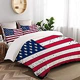 VORMOR 3 Piezas Juego de Ropa de Cama - Grunge USA Bandera Americana Textura Vector - Funda de edredón 140x200cm con 2 Fundas de Almohada 50x80cm,con Cremallera