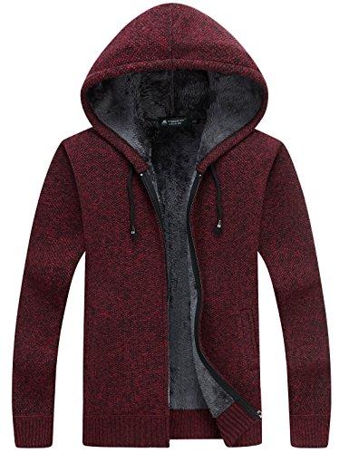 Yeokou Herren-Kapuzenpullover mit dickem Fleece-Futter und Reißverschluss -  Rot -  Small